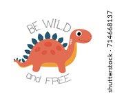 cute little dinosaur. vector... | Shutterstock .eps vector #714668137