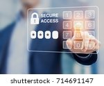 person dialing password on a... | Shutterstock . vector #714691147