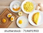 various ways of cooking chicken ... | Shutterstock . vector #714691903