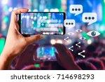 people hands use smart phones... | Shutterstock . vector #714698293