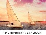 sailboat at sunset. sailing... | Shutterstock . vector #714718027