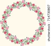 floral round frames from cute...   Shutterstock .eps vector #714730807