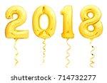 golden christmas balloons 2018... | Shutterstock . vector #714732277