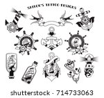 sailor's tattoo designs | Shutterstock .eps vector #714733063