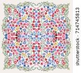folk flower square composition. ... | Shutterstock .eps vector #714745813