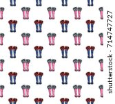 vector blue polka dot wellies... | Shutterstock .eps vector #714747727
