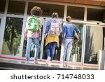 young students on campus | Shutterstock . vector #714748033