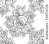 floral decorative black and... | Shutterstock .eps vector #714774733