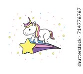 cute unicorn with horn and star ... | Shutterstock .eps vector #714776767