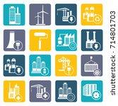 industry icon set vector | Shutterstock .eps vector #714801703