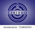 certified emblem with denim... | Shutterstock .eps vector #714824353