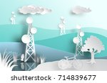 telecommunication mast... | Shutterstock .eps vector #714839677