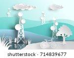telecommunication mast... | Shutterstock .eps vector #714839677
