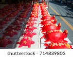 Small photo of Phuket, Thailand - September 9, 2017 :Red turtle cake are used offerings to offer ancestors in Por Tor Festival of Phuket, Thailand