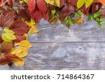 autumn background with leaves... | Shutterstock . vector #714864367