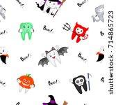 cute cartoon tooth character... | Shutterstock .eps vector #714865723