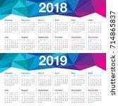 year 2018 2019 calendar vector... | Shutterstock .eps vector #714865837