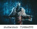 halloween. the king zombie... | Shutterstock . vector #714866593