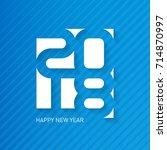 happy new year 2018. vector... | Shutterstock .eps vector #714870997