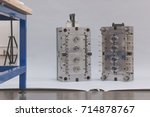 injection mold getting ready... | Shutterstock . vector #714878767