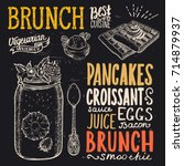 brunch food menu for restaurant ... | Shutterstock .eps vector #714879937