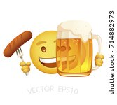 vector yellow smiley holds a... | Shutterstock .eps vector #714882973