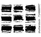 set of black brush stroke.... | Shutterstock .eps vector #714888997