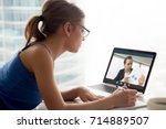 business long distance video... | Shutterstock . vector #714889507
