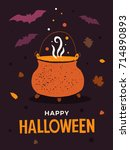 halloween illustration with... | Shutterstock .eps vector #714890893