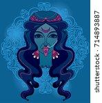 portrait of  indian goddess... | Shutterstock .eps vector #714893887