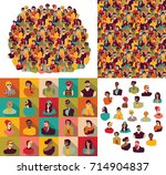 big group young happy casual... | Shutterstock .eps vector #714904837