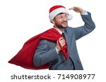 portrait of happy santa claus... | Shutterstock . vector #714908977