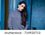 beautiful business woman lady... | Shutterstock . vector #714920713