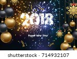 happy new year 2018 background... | Shutterstock .eps vector #714932107