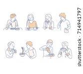 people who eat food vector... | Shutterstock .eps vector #714941797