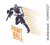 player on the run. paintball... | Shutterstock .eps vector #714947227