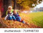 happy kids  friend having fun...   Shutterstock . vector #714948733