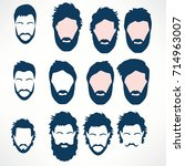 hipster vector set  hair and... | Shutterstock .eps vector #714963007