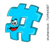 hashtag funny cartoon character ... | Shutterstock .eps vector #714964387