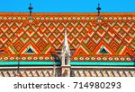 colorful roof detail of st.... | Shutterstock . vector #714980293