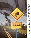 road sign warning about tornado ... | Shutterstock .eps vector #714983083