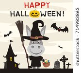 happy halloween  greeting card... | Shutterstock .eps vector #714983863