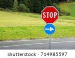 red stop sign | Shutterstock . vector #714985597