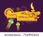vector illustration of diwali... | Shutterstock .eps vector #714992323