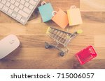 model shopping bag  basket and... | Shutterstock . vector #715006057