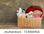 donation box with clothes ...   Shutterstock . vector #715006963