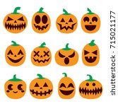 pumpkin vector icons set ... | Shutterstock .eps vector #715021177