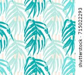 green palm leaves seamless... | Shutterstock .eps vector #715022293
