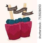 blueberry pomegranate popsicles ... | Shutterstock .eps vector #715028053