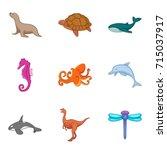 marine fauna icons set. cartoon ... | Shutterstock .eps vector #715037917